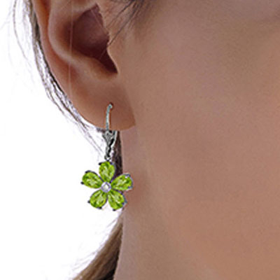 Peridot and Diamond Flower Petal Drop Earrings 4.4ctw in 9ct White Gold