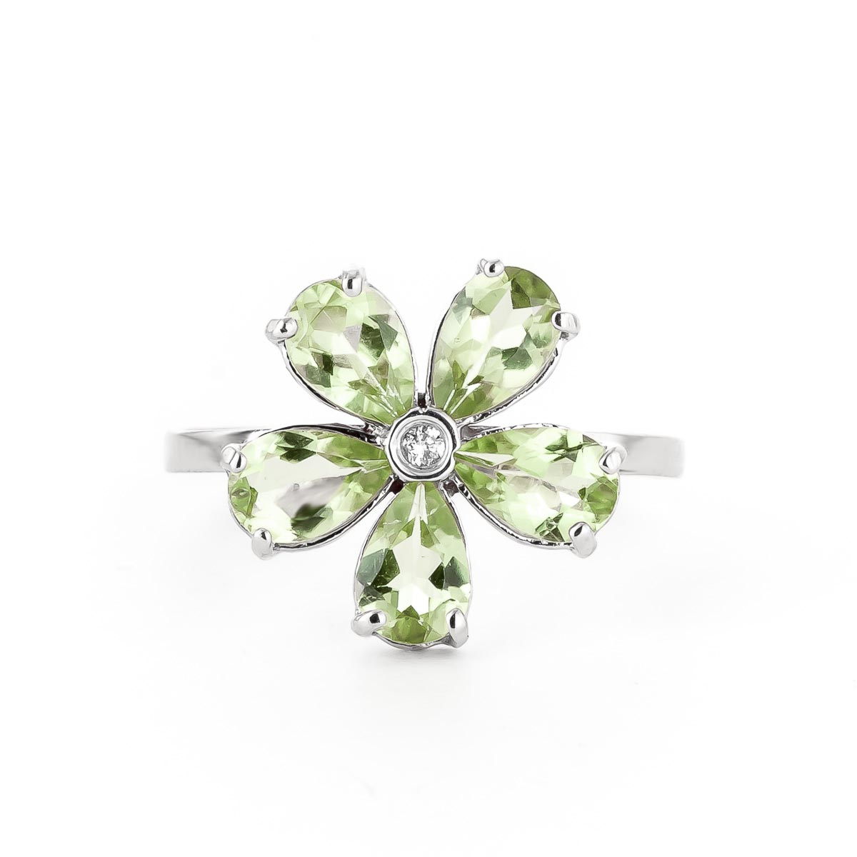 Peridot and Diamond Five Petal Ring 2.2ctw in 9ct White Gold