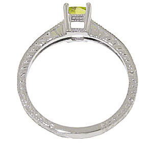 Peridot and Diamond Shoulder Set Ring 0.5ct in 14K White Gold