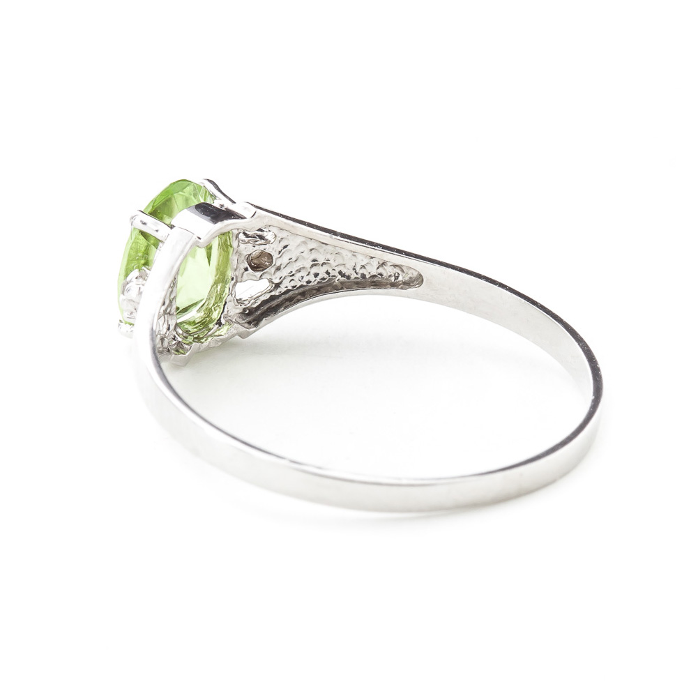 Peridot and Diamond Desire Ring 0.75ct in 14K White Gold