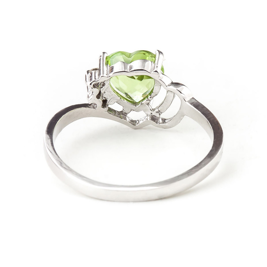 Peridot and Diamond Passion Ring 0.95ct in 9ct White Gold