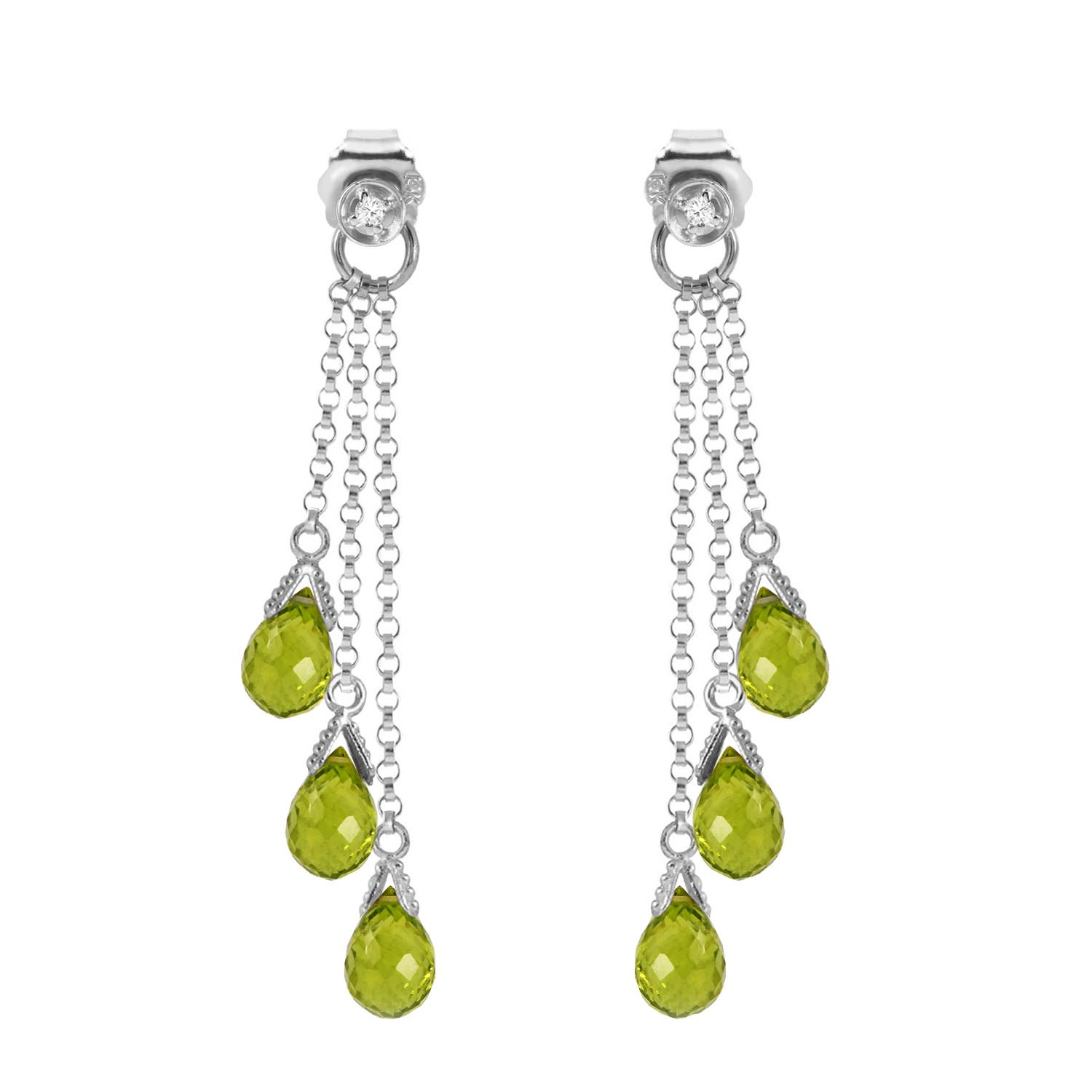 Peridot and Diamond Trilogy Droplet Earrings 10.5ct in 9ct White Gold