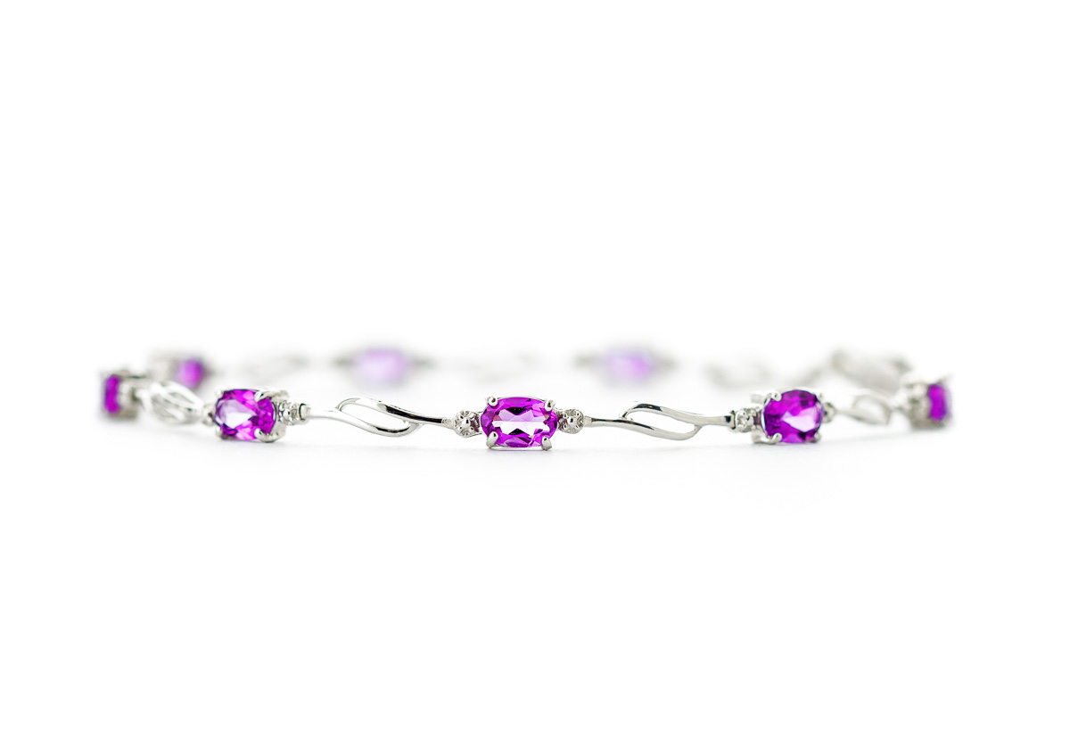 Pink Topaz and Diamond Classic Tennis Bracelet 3.38ctw in 14K White Gold