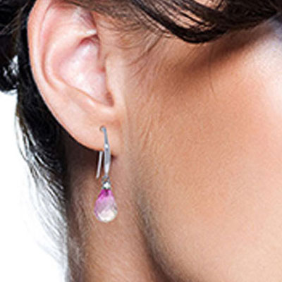 Pink Topaz and Diamond Drop Earrings 4.5ctw in 9ct White Gold
