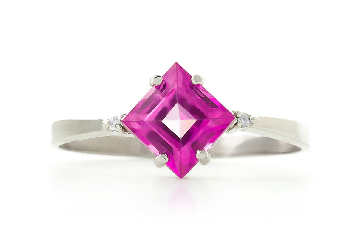 Pink Topaz and Diamond Ring 1.75ct in 9ct White Gold