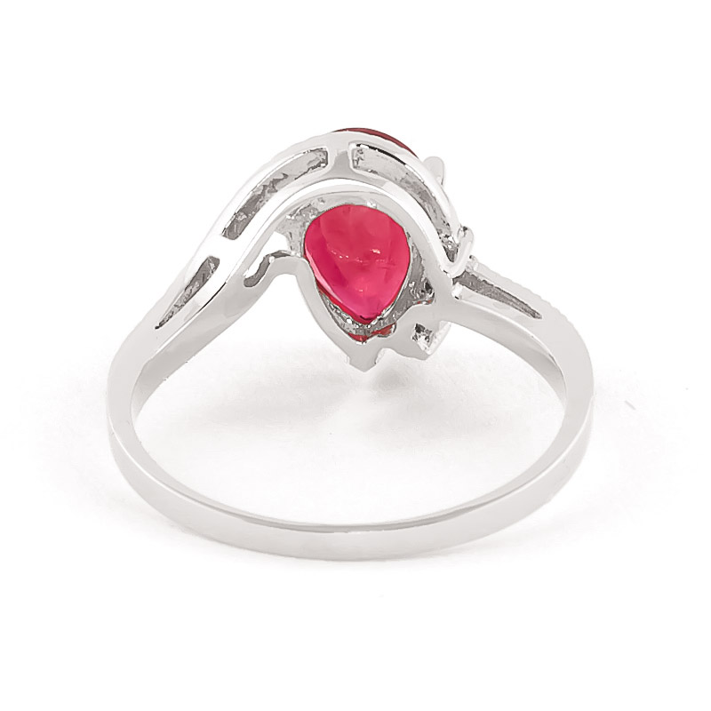 Ruby and Diamond Belle Ring 1.5ct in 14K White Gold