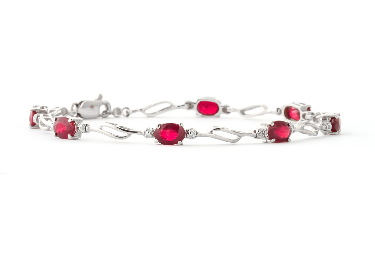 Ruby and Diamond Classic Tennis Bracelet 4.2ctw in 9ct White Gold