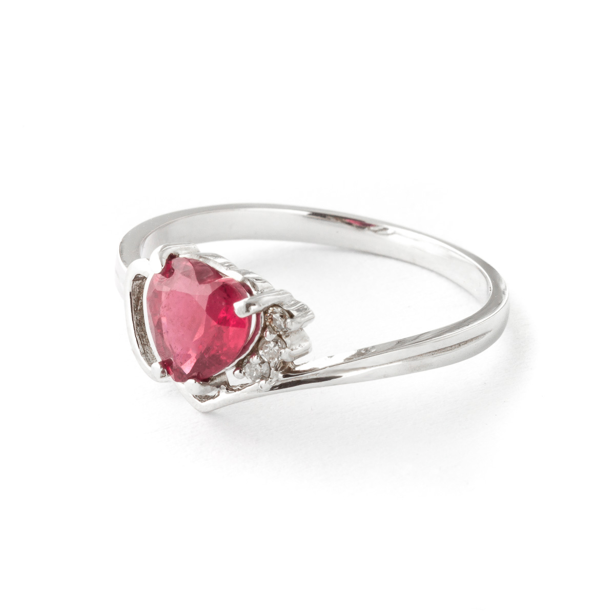 Ruby and Diamond Devotion Ring 1.0ct in 14K White Gold