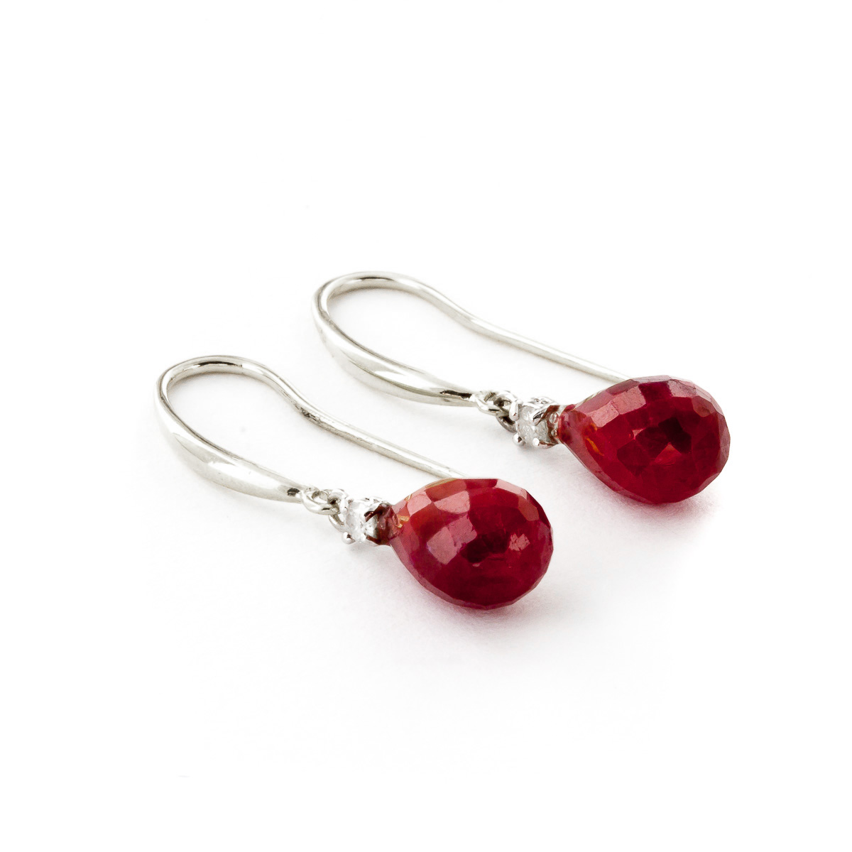 Ruby and Diamond Drop Earrings 6.6ctw in 9ct White Gold