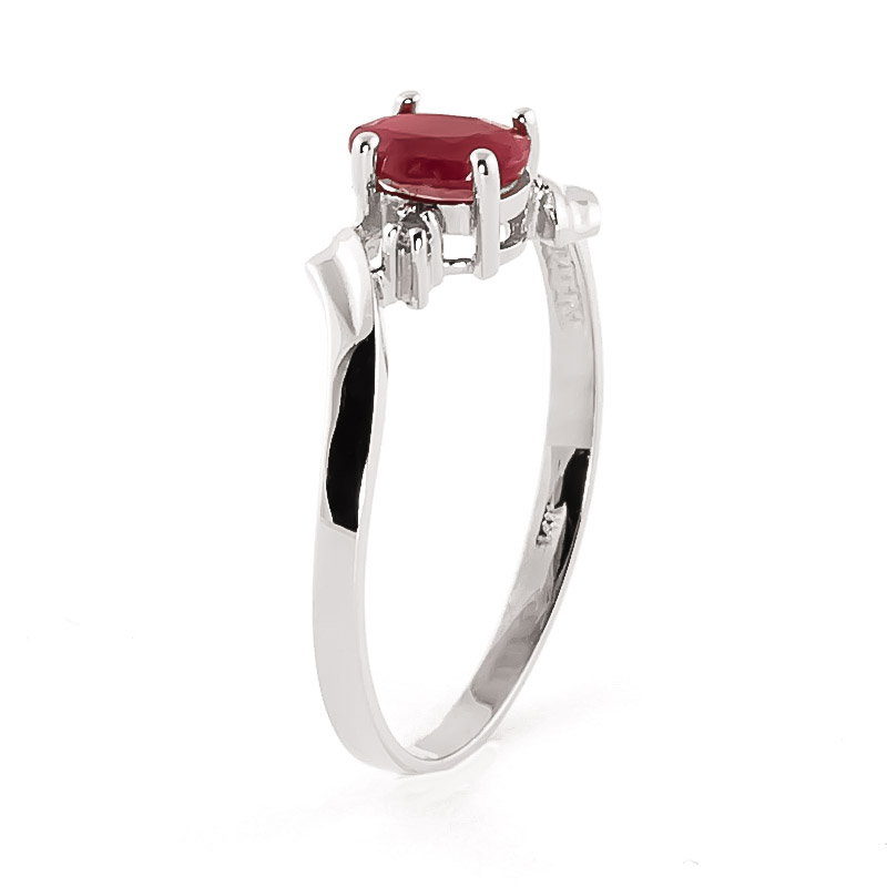 Ruby and Diamond Embrace Ring 0.45ct in 14K White Gold