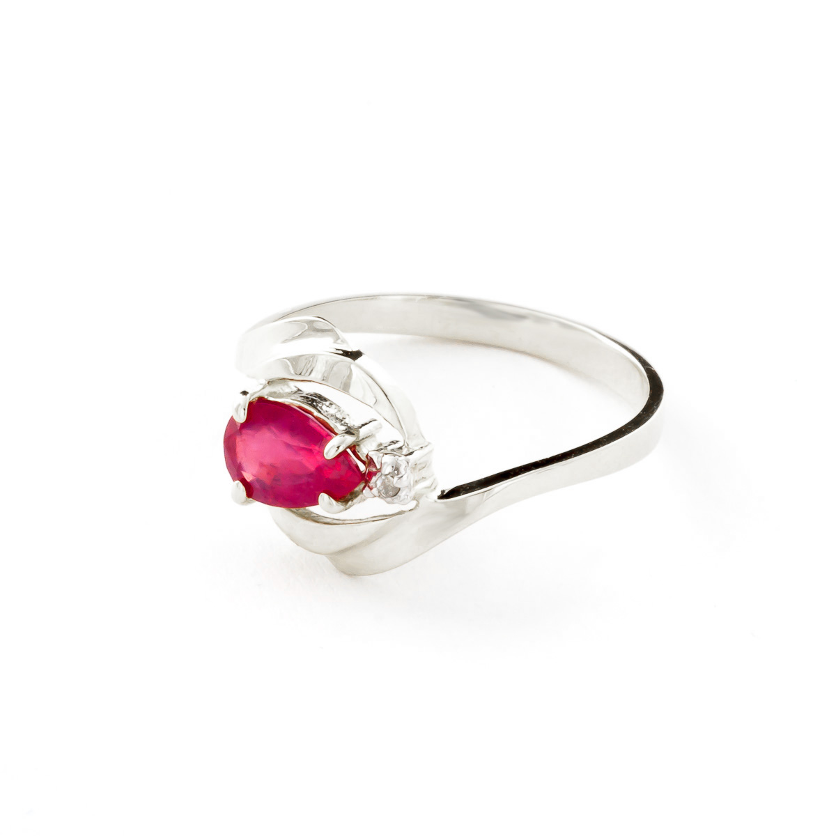 Ruby and Diamond Flare Ring 0.5ct in 14K White Gold