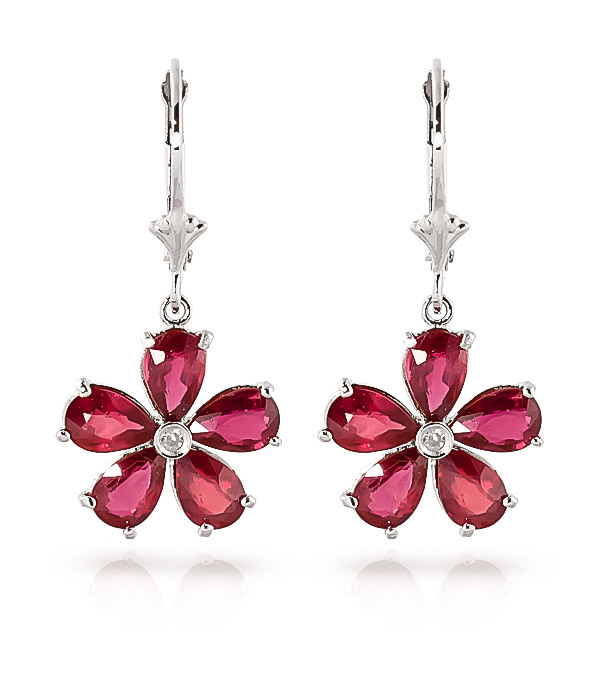 Ruby and Diamond Flower Petal Drop Earrings 4.4ctw in 9ct White Gold