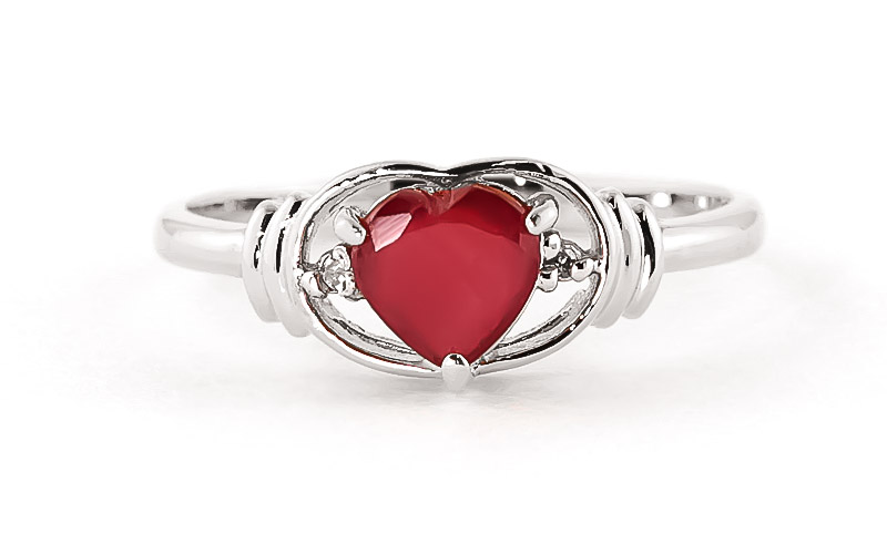 Ruby and Diamond Ring 1.0ct in 14K White Gold