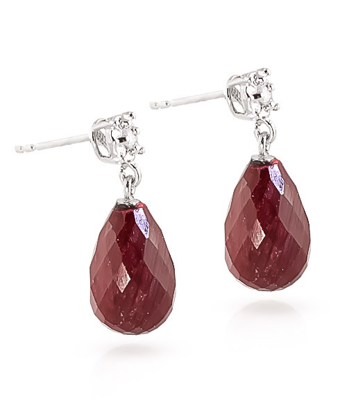 Ruby and Diamond Illusion Stud Earrings 17.6ctw in 9ct White Gold