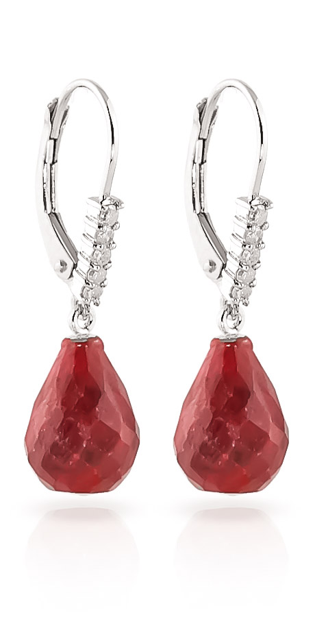 Ruby and Diamond Stem Drop Earrings 8.8ctw in 9ct White Gold