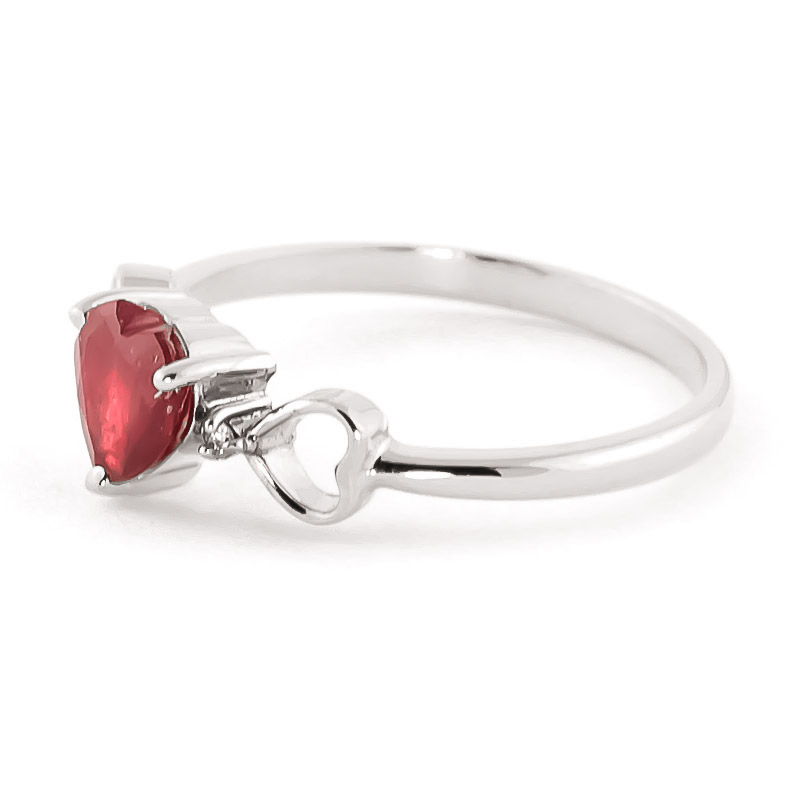 Ruby and Diamond Trinity Ring 1.0ct in 14K White Gold
