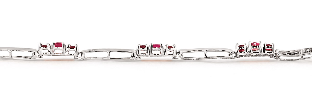 Ruby and Diamond Trinity Tennis Bracelet 1.75ctw in 14K White Gold