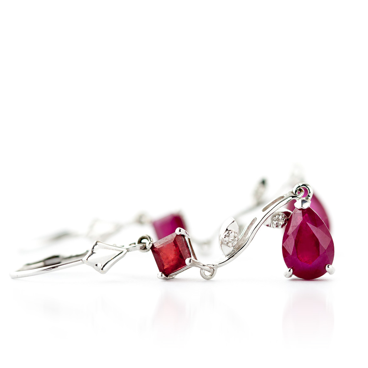 Ruby and Diamond Vine Branch Drop Earrings 3.95ctw in 9ct White Gold