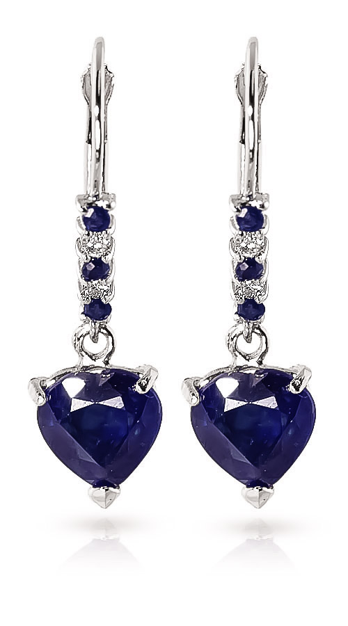 Sapphire and Diamond Drop Earrings 3.1ctw in 14K White Gold