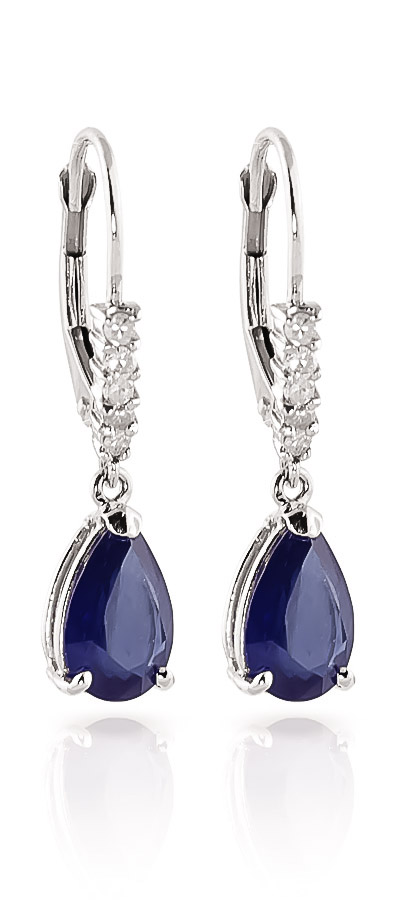 Sapphire and Diamond Belle Drop Earrings 3.0ctw in 14K White Gold