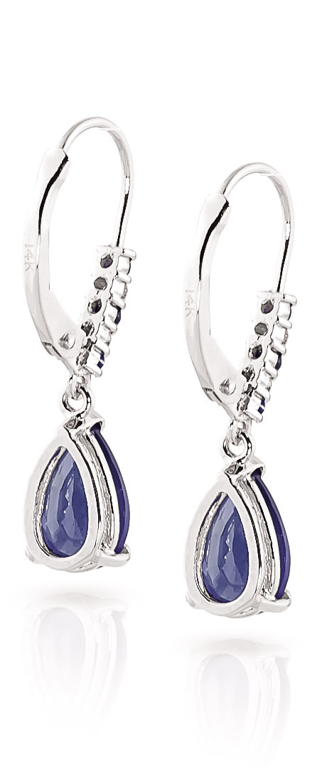 Sapphire and Diamond Belle Drop Earrings 3.12ctw in 9ct White Gold