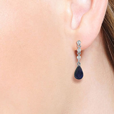 Sapphire and Diamond Chain Droplet Earrings 6.6ctw in 14K White Gold