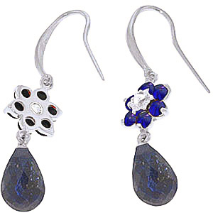 Sapphire and Diamond Daisy Chain Drop Earrings 7.55ctw in 14K White Gold