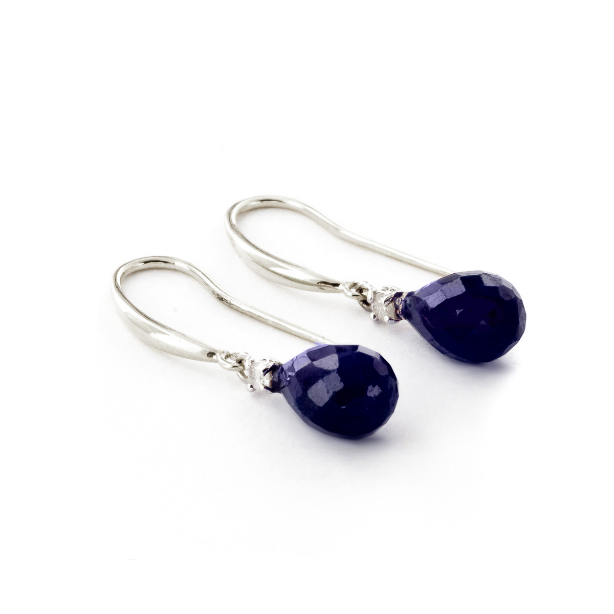 Sapphire and Diamond Drop Earrings 6.6ctw in 9ct White Gold