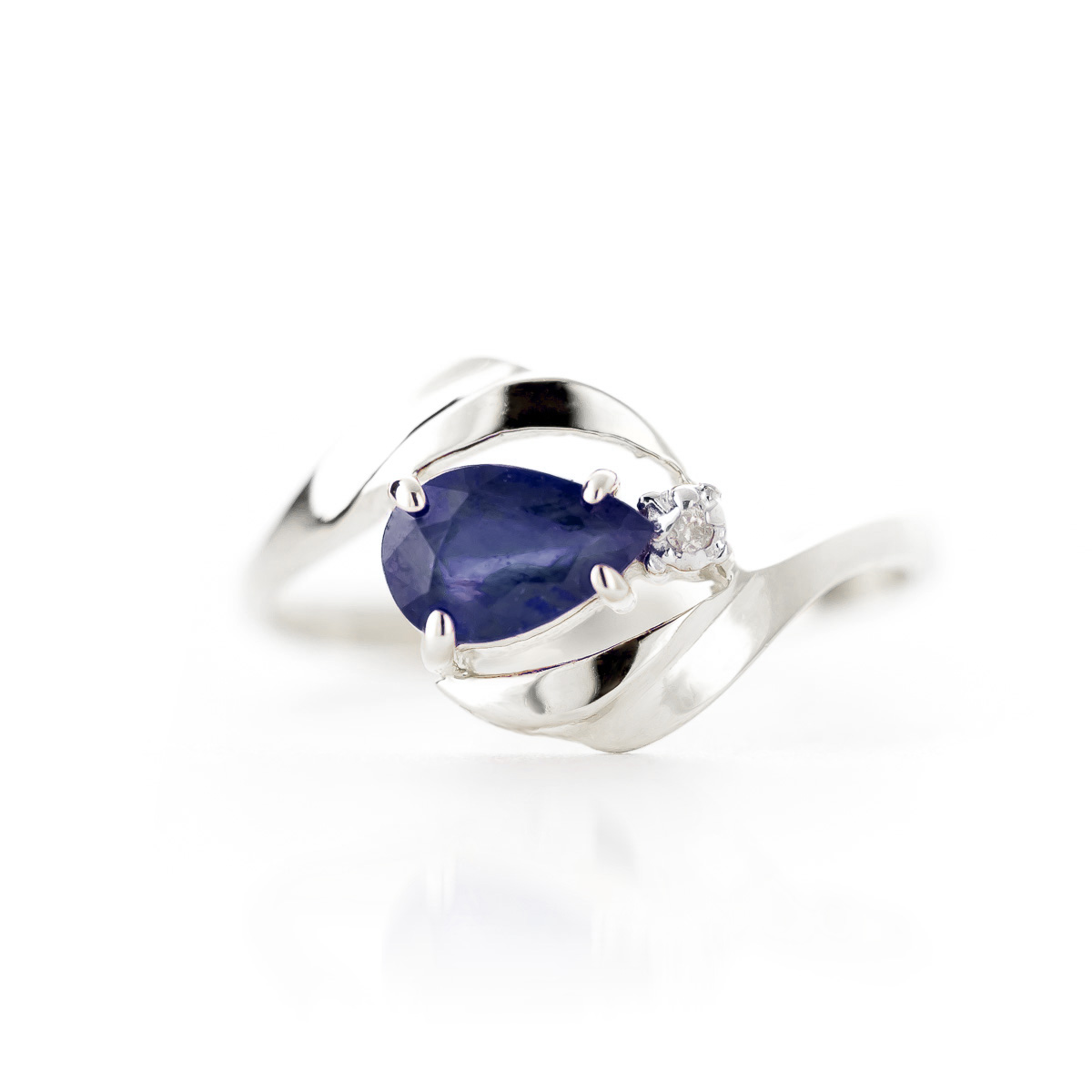 Sapphire and Diamond Flare Ring 0.5ct in 14K White Gold