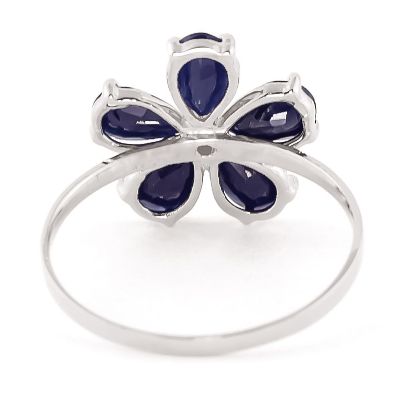 Sapphire and Diamond Five Petal Ring 2.2ctw in 14K White Gold