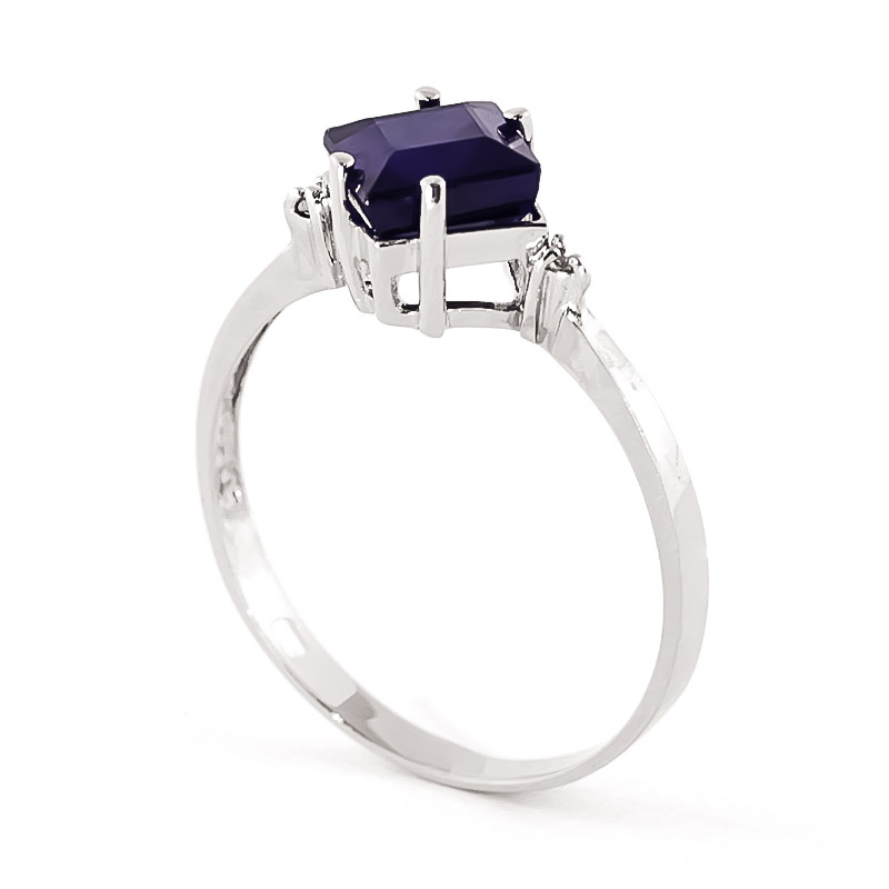 Sapphire and Diamond Ring 1.45ct in 9ct White Gold