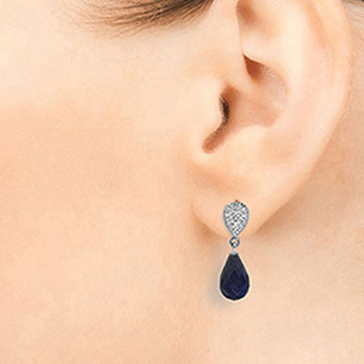 Sapphire and Diamond Droplet Earrings 6.6ctw in 9ct White Gold
