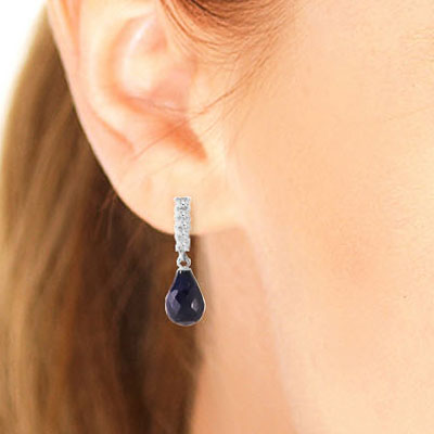 Sapphire and Diamond Stem Droplet Earrings 6.6ctw in 9ct White Gold