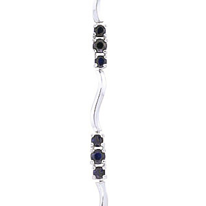 Sapphire and Diamond Trinity Tennis Bracelet 1.75ctw in 14K White Gold