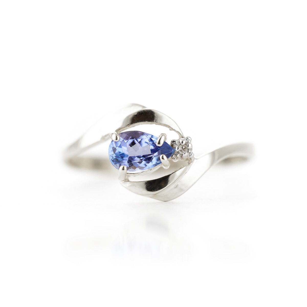 Tanzanite and Diamond Flare Ring 0.5ct in 14K White Gold