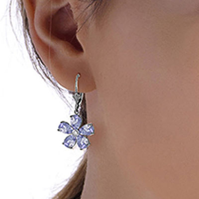 Tanzanite and Diamond Flower Petal Drop Earrings 4.4ctw in 9ct White Gold