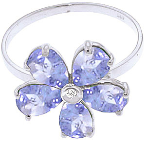 Tanzanite and Diamond Five Petal Ring 2.2ctw in 9ct White Gold