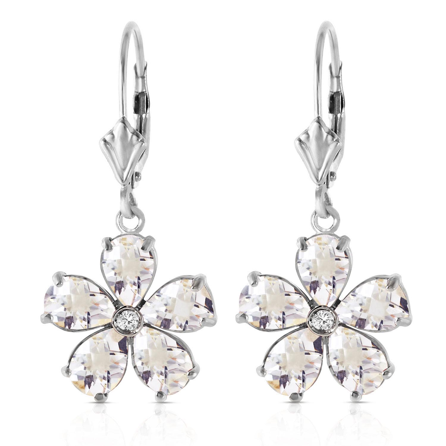 White Topaz and Diamond Flower Petal Drop Earrings 4.4ctw in 9ct White Gold
