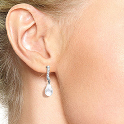 White Topaz and Diamond Droplet Earrings 4.5ctw in 14K White Gold