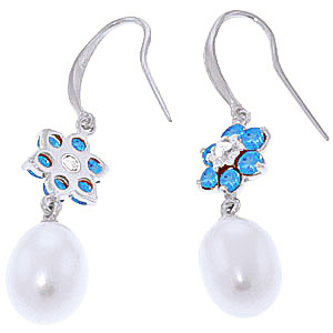 Pearl, Diamond and Blue Topaz Daisy Chain Drop Earrings 8.95ctw in 14K White Gold
