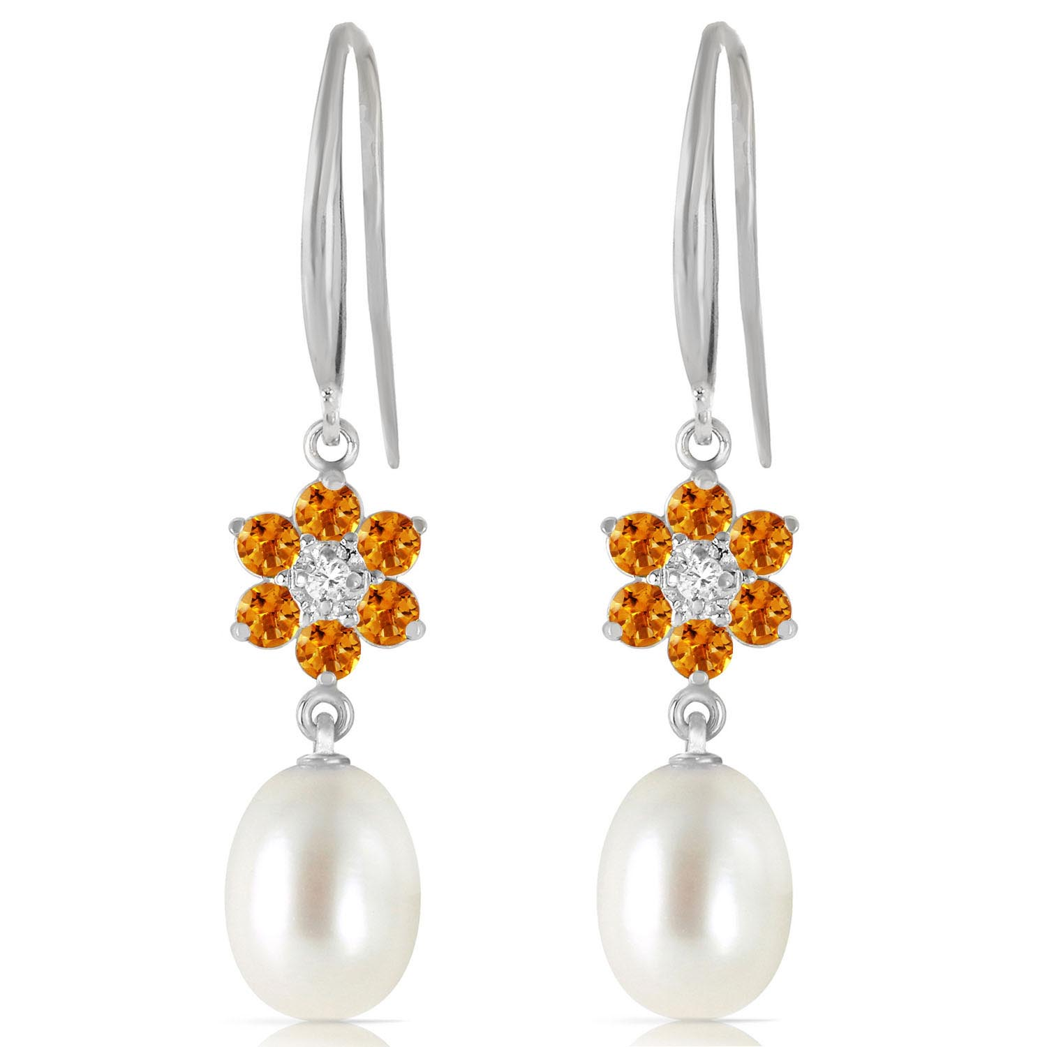 Pearl, Diamond and Citrine Daisy Chain Drop Earrings 8.95ctw in 9ct White Gold