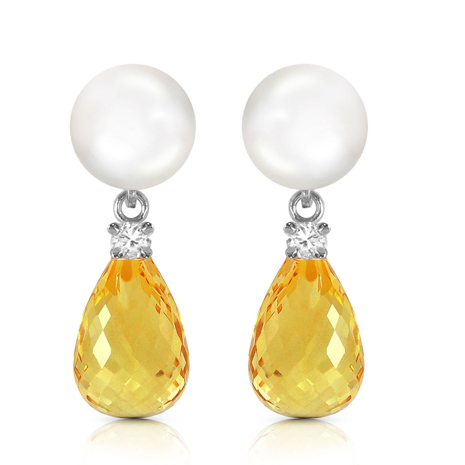 Pearl, Diamond and Citrine Stud Earrings 6.5ctw in 9ct White Gold