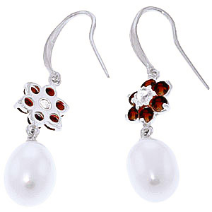 Pearl, Diamond and Garnet Daisy Chain Drop Earrings 8.95ctw in 9ct White Gold