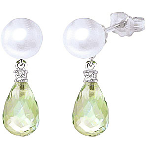 Pearl, Diamond and Green Amethyst Stud Earrings 6.5ctw in 9ct White Gold