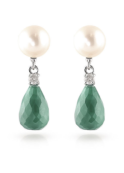 Emerald, Diamond and Pearl Drop Earrings 8.6ctw in 9ct White Gold