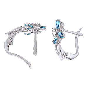 Blue Topaz, Diamond and Peridot Flower Petal Stud Earrings 1.0ctw in 9ct White Gold