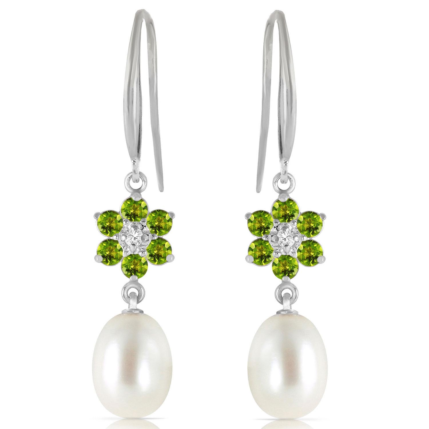 Pearl, Diamond and Peridot Daisy Chain Drop Earrings 8.95ctw in 14K White Gold