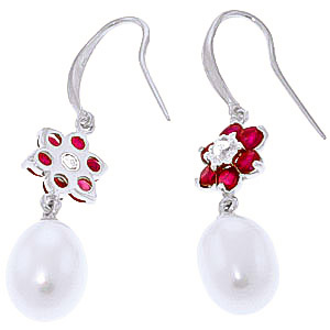 Pearl, Diamond and Ruby Daisy Chain Drop Earrings 8.95ctw in 9ct White Gold