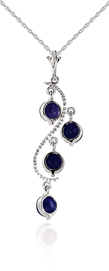 Sapphire Dream Catcher Pendant Necklace 2.0ctw in 9ct White Gold