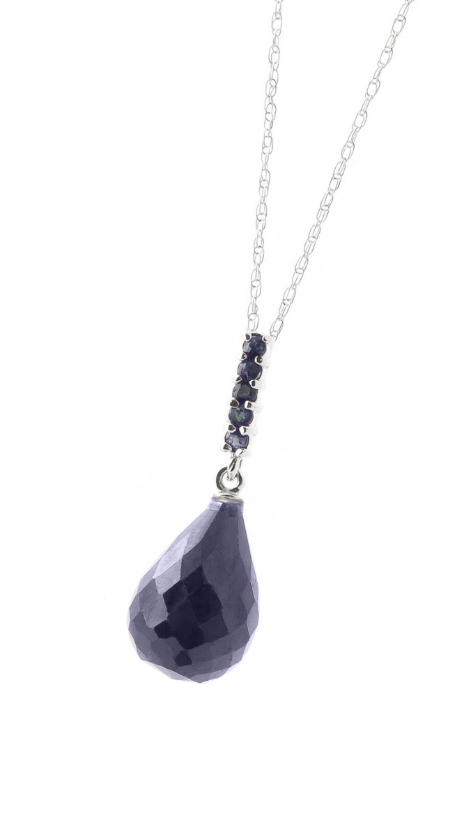 Sapphire Briolette Pendant Necklace 9.0ctw in 14K White Gold
